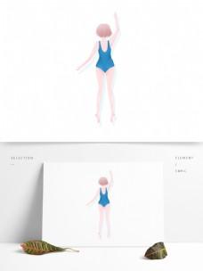 清新卡通穿着蓝色泳衣游泳的女孩