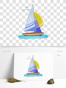 手绘海上交通工具旅游元素帆船免抠png