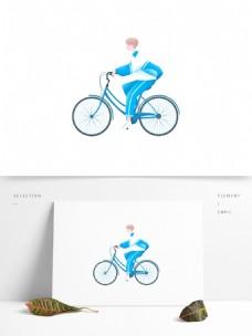 骑自行车的男孩图案元素
