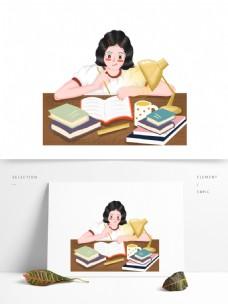 熬夜写作业的女孩图案元素