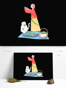 端午节粽子女孩和猫图案元素