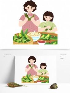 端午节包粽子的人物元素