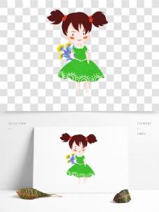 快乐六一儿童节花束女孩原创手绘元素