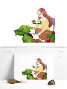 吃粽子的女孩端午节元素设计