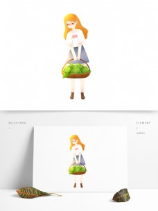 手提粽子的女孩图案元素