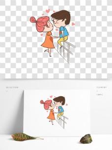 国际接吻日元素人物动物可爱卡通