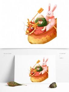 端午节龙舟粽子图案元素
