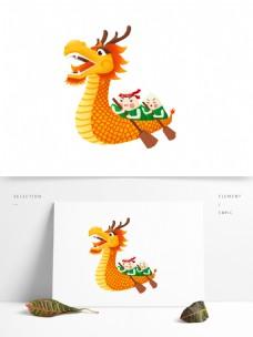 端午节粽子划龙舟图案元素