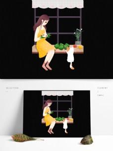 端午节吃粽子的女孩图案