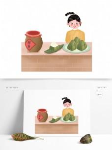 端午节粽子的孩图案