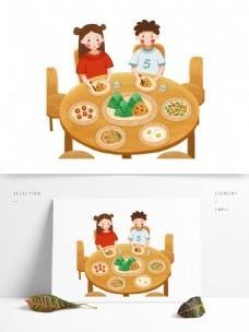 一桌端午节美食图案元素