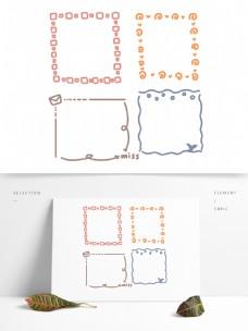 手绘方形可爱边框手账素材