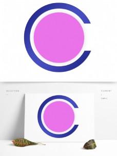 紫色蓝边的圆形背景框
