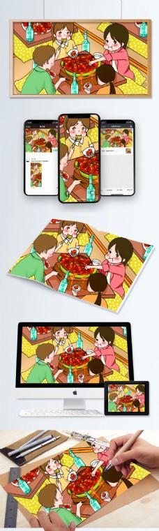 原创手绘插画食物插画龙虾啤酒夏日狂欢聚餐