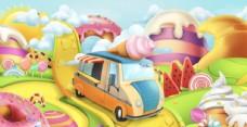 卡通动漫糖果世界和甜品车插画