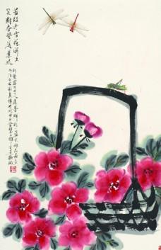 手绘一篮红花 蜻蜓和花