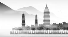 中国风大理风景矢量插画