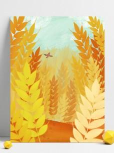 芒种节气金色麦穗背景设计