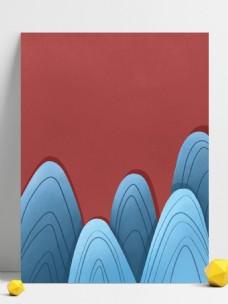 蓝色线条山峰背景设计