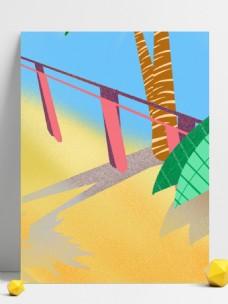 蓝色夏日旅游季海边椰子树背景