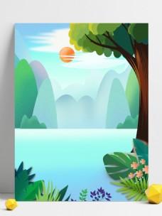 夏季清新湖面大树花草背景设计