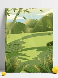 端午节绿色竹子粽叶背景设计