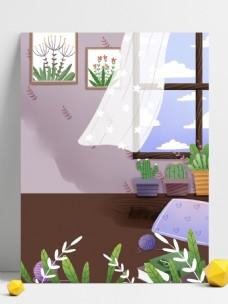 夏季家居盆栽植物壁画背景设计