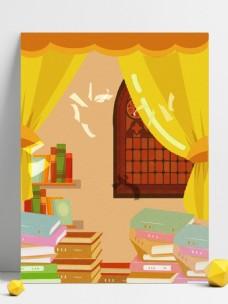 奋战高考书堆背景设计