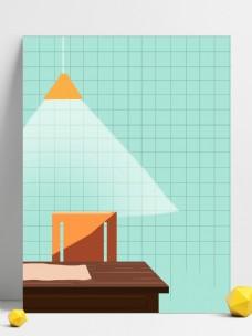 吊灯照着桌椅背景设计