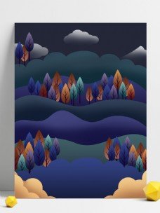 彩色山头树林背景设计