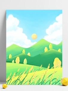 芒种节气远山麦穗背景