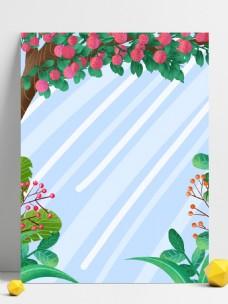 芒种节气荔枝树背景设计