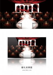 白红色简约欧式线条造型婚礼厅内效果图