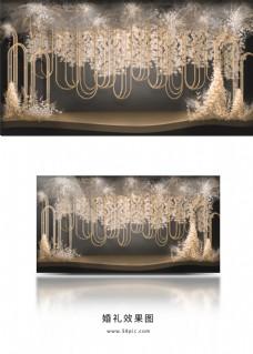 暗色香槟色造型金色铁艺婚礼迎宾区