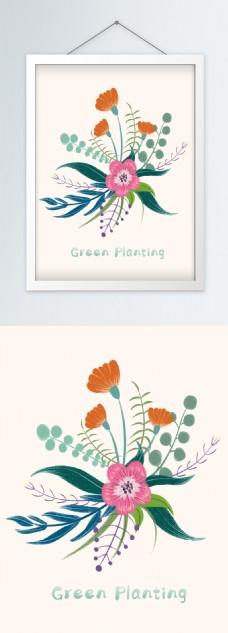 手绘北欧绿色小清新植物花卉挂画