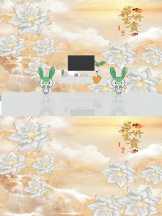 3D大理石纹浮雕珠宝花朵背景墙