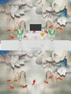 新中式山水荷花背景墙