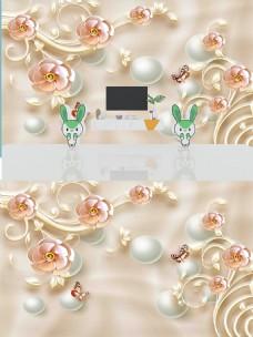 3D现代简约时尚浮雕珠宝花朵丝绸背景墙