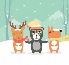 3只可爱雪地里的森林动物矢量图