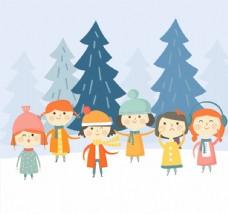6个可爱雪地里的孩子矢量素材