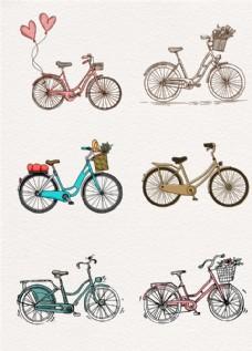 文艺手绘自行车AI素材