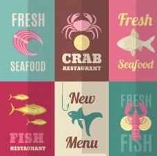 新鲜的海鲜标签