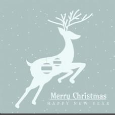圣诞贺卡与鹿剪影