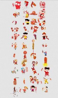 放炮喜庆节日放鞭炮手绘卡通儿童