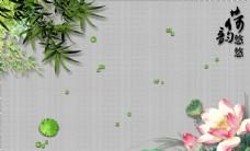 莲花荷塘树叶纹理背景立体装饰画