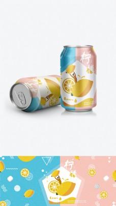 扁平插画易拉罐水果味汽水柠檬包装图