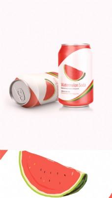 清新水果味汽水易拉罐饮料包装