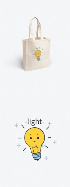 简约风格灯泡帆布袋插画绘画设计元素