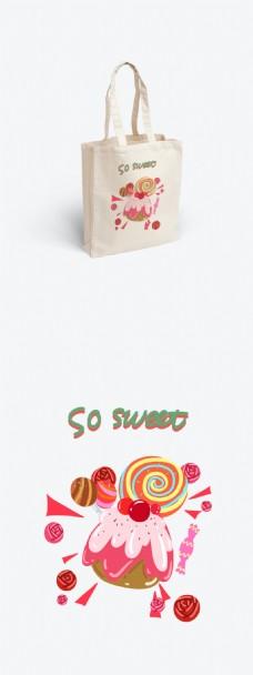 帆布袋包装甜品下午茶系列可爱卡通