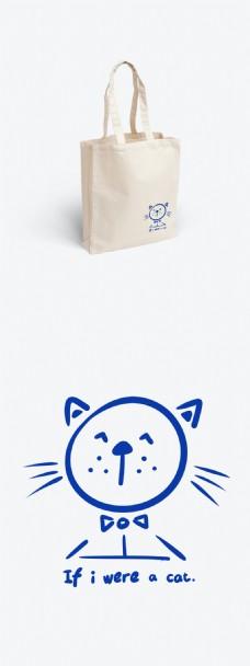 简约涂鸦风帆布袋设计假如我是一只猫